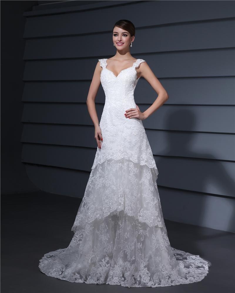 Shoulder Straps Embroidery Floor Length Lace Sheath Wedding Dress