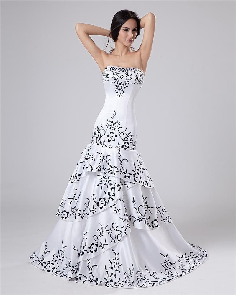 Satin Beading Ruffles Sweetheart Cathedral Train Sheath Wedding Dresses