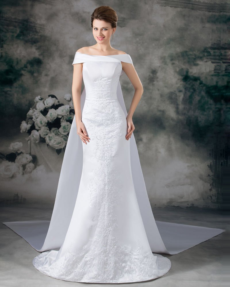 Stain Embroidery Sequins Off-The-Shoulder Floor Length Panel Train Sheath Wedding Dress