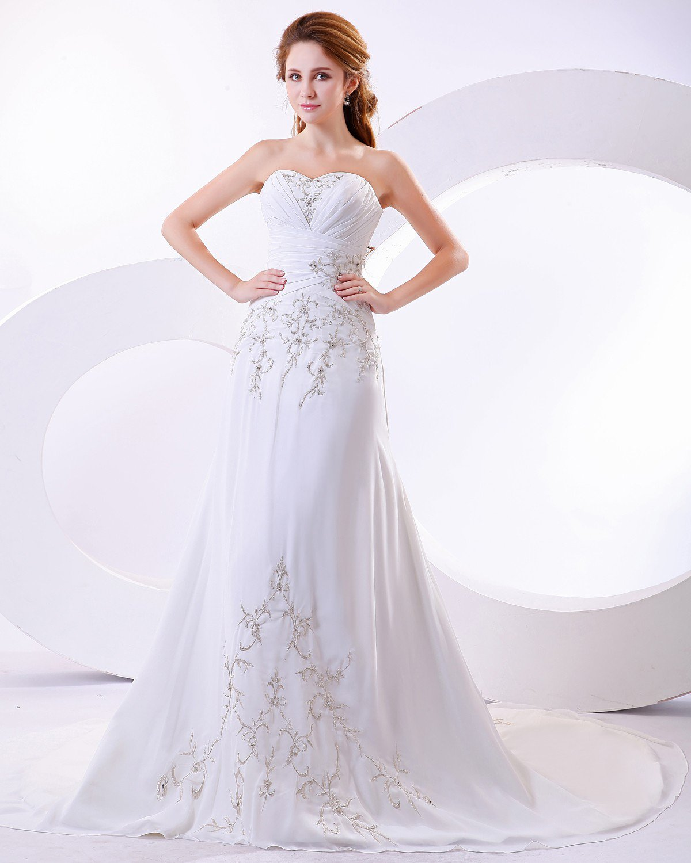 Sleeveless Train Strapless Wedding Dress Gown