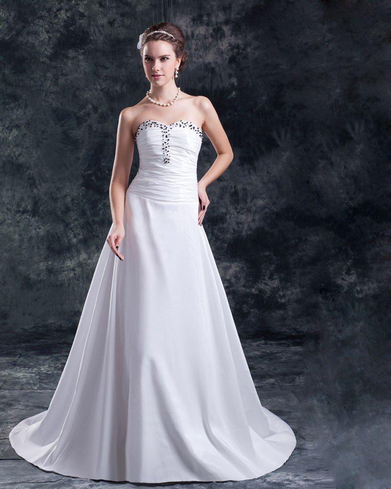 Taffeta Sequins Ruffle Floor Length Sweetheart Sheath Wedding Dress