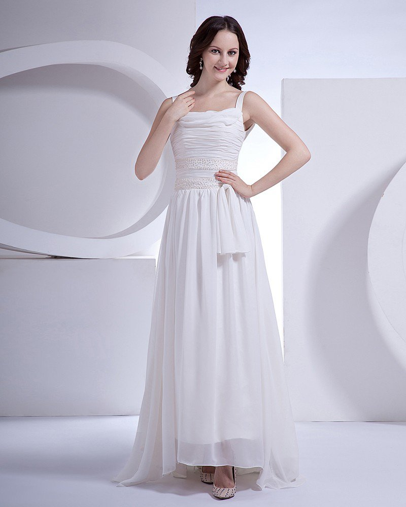 Beading Scroop Court Sheath Bridal Gown Wedding Dress
