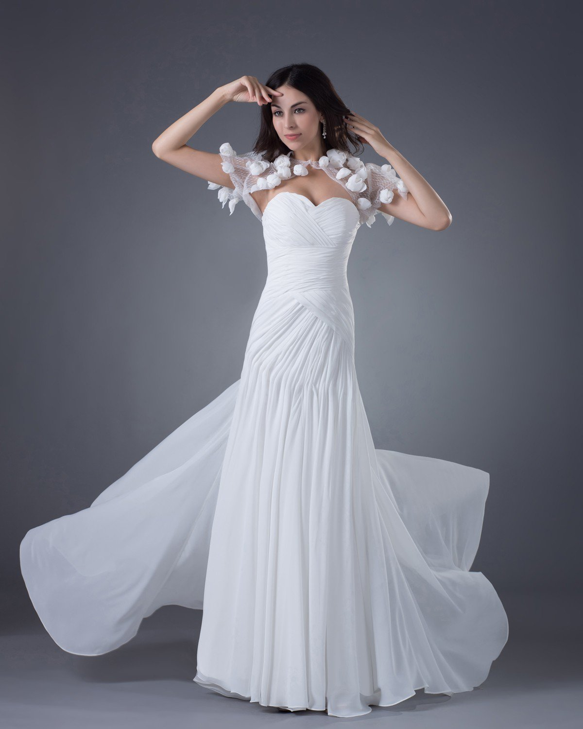 Chiffon Flowers Sweetheart Floor Length Sheath Wedding Dresses