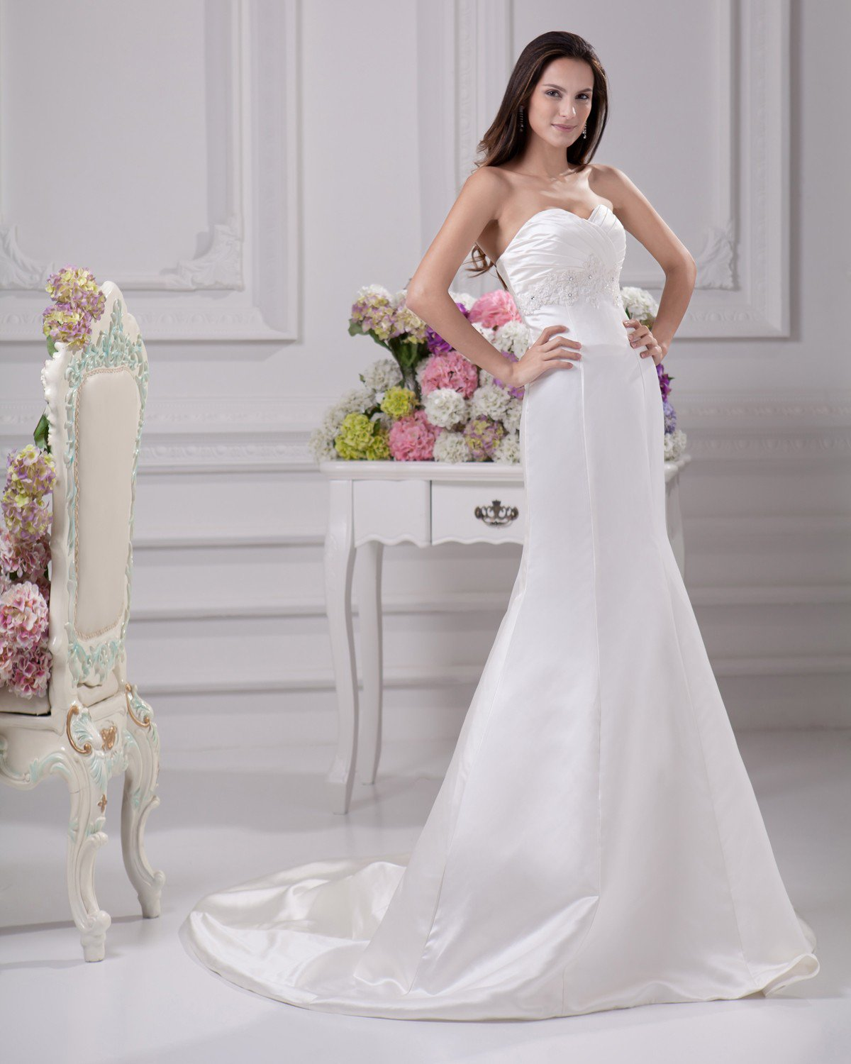 Elegant Sweetheart Beading Ruffles Floor Length Court Train Satin Sheath Wedding Dress