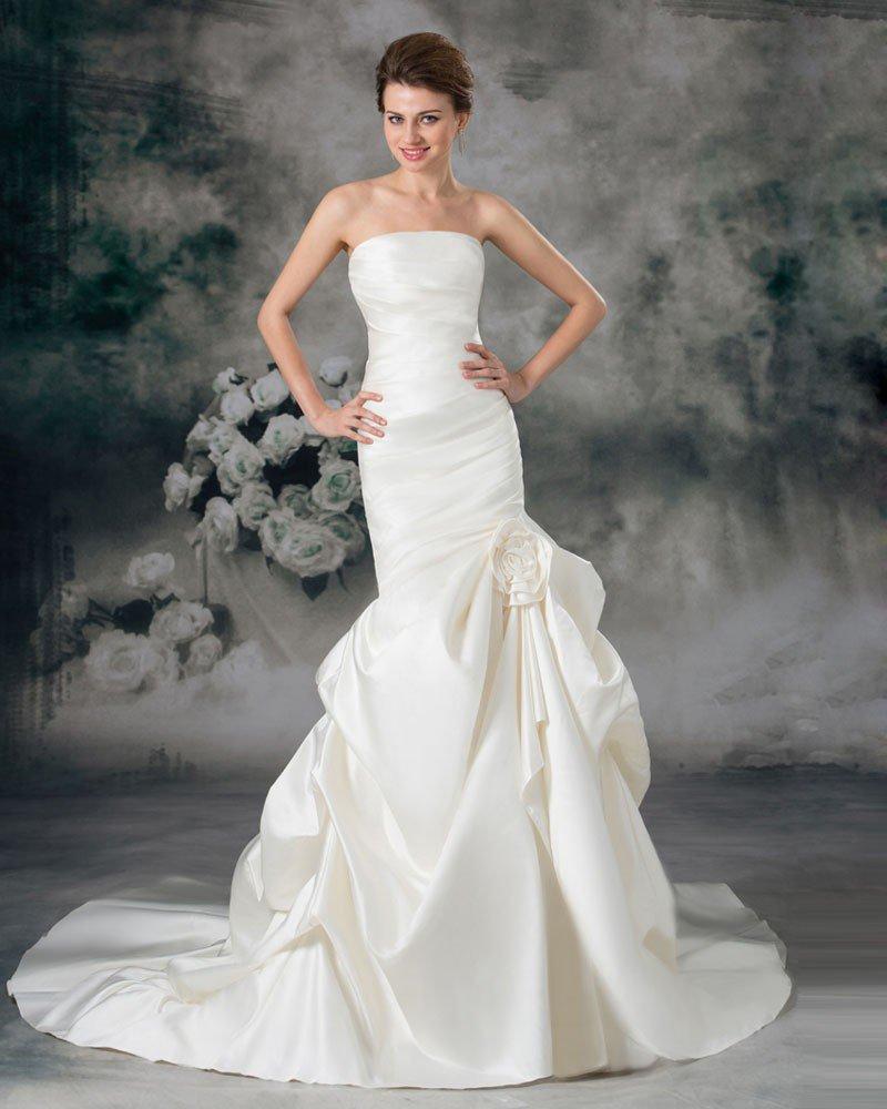 Satin Ruffle Flower Strapless Court Train Sheath Wedding Dress
