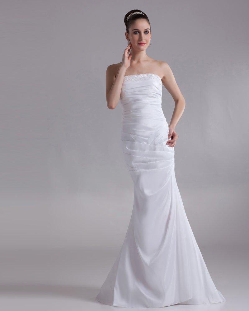 Taffeta Sequins Strapless Floor Length Sheath Wedding Dress
