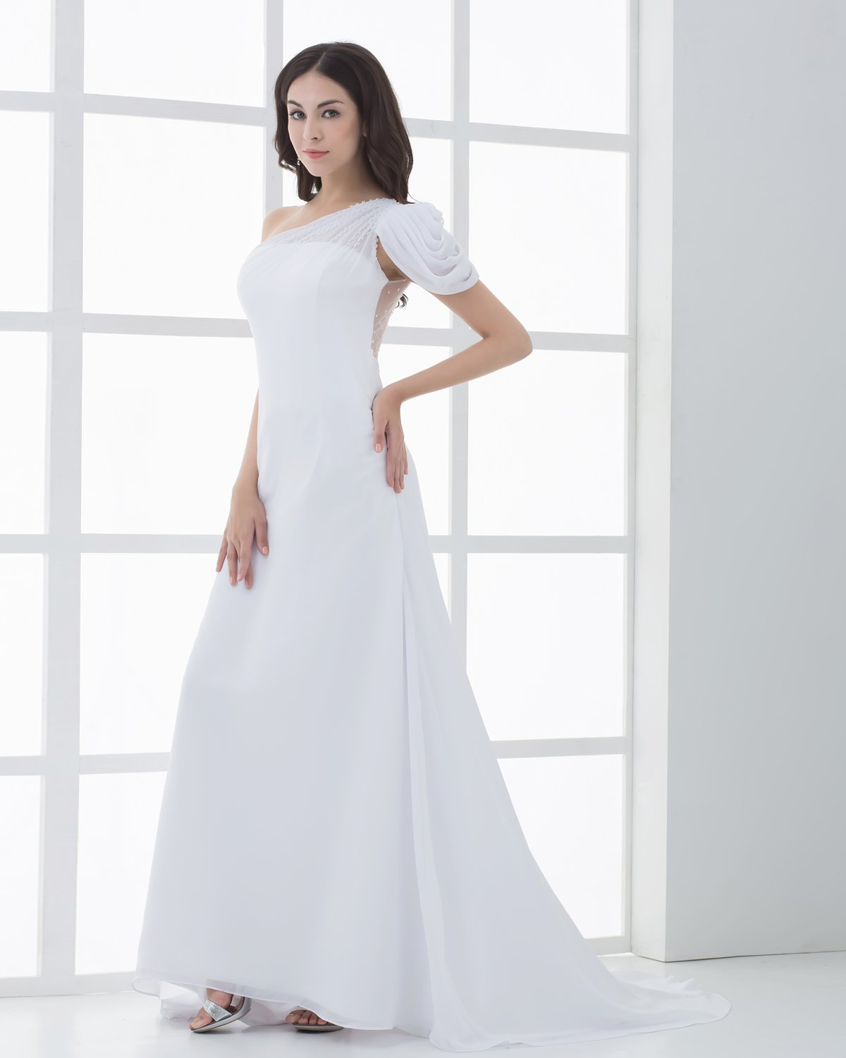 Chiffon Ruffle Beading One Shoulder Floor Length Sheath Wedding Dresses