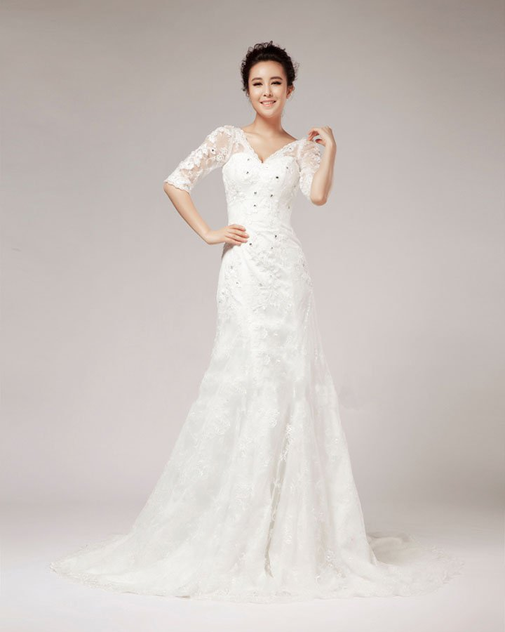 V Neck Rhinestone Floor Length Half Sleeve Lace A Line Wedding Dress