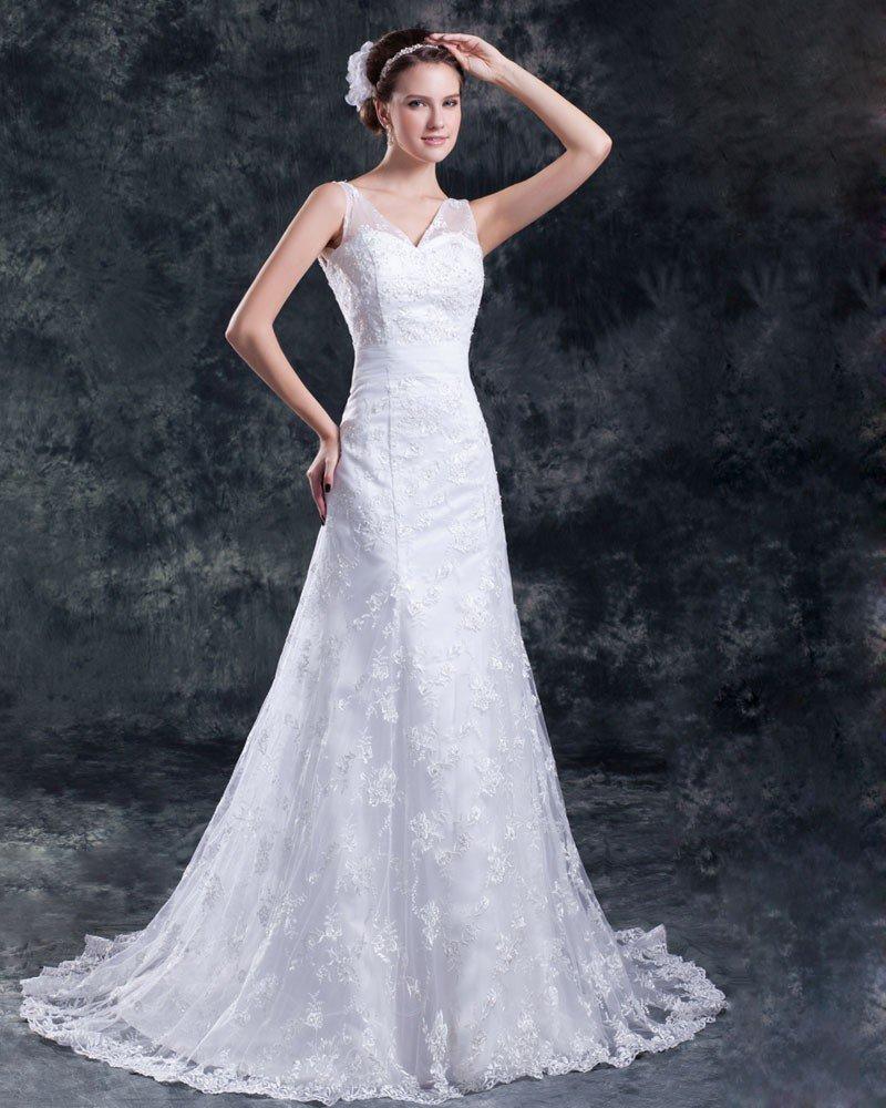 Lace Beading V Neck Floor Length Sweep Train Sheath Wedding Dress