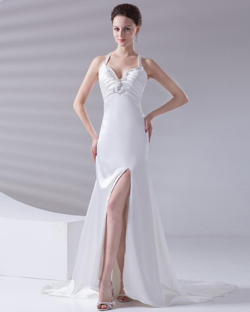 Shoulder Straps Beading Ruffle Floor Length Charmeuse Woman Sheath Wedding Dress
