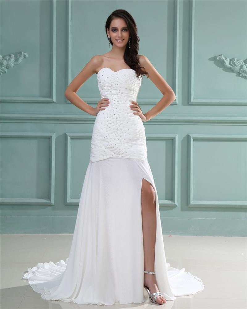 Strapless Sleeveless Zipper Beading Ruffle Floor Length Chiffon Woman Sheath Wedding Dress