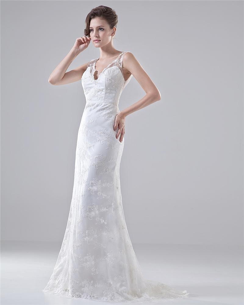 V Neck Spaghetti Straps Embroidery Floor Length Lace Sheath Wedding Dress