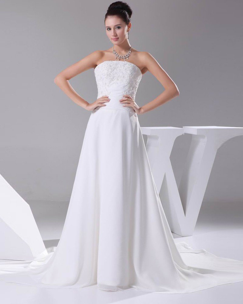 Elegant Chiffon Satin Lacework Beading Strapless Floor Length Women Wedding Dress