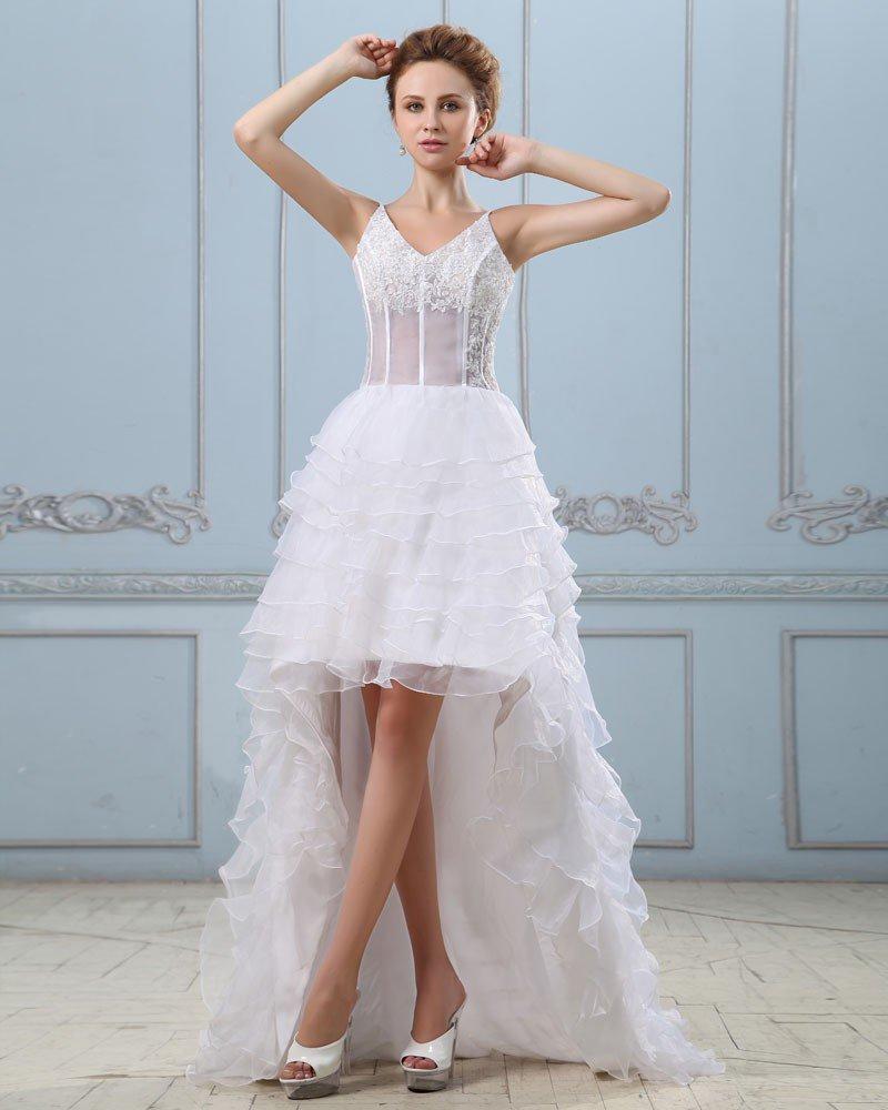 Court Train V-Neck Applique Layered Mini Wedding Dresses