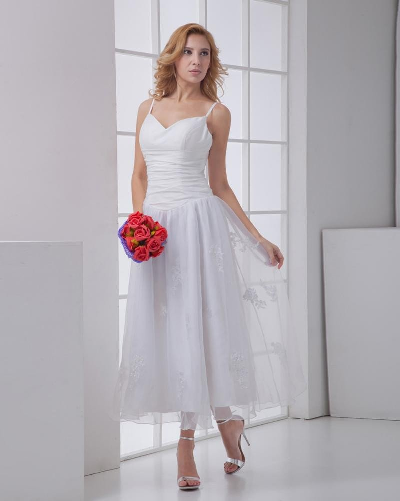 Taffeta Gauze Flower Spaghetti Straps Sleeveless Backless Zipper Ankle Length Pleated Mini Wedding D