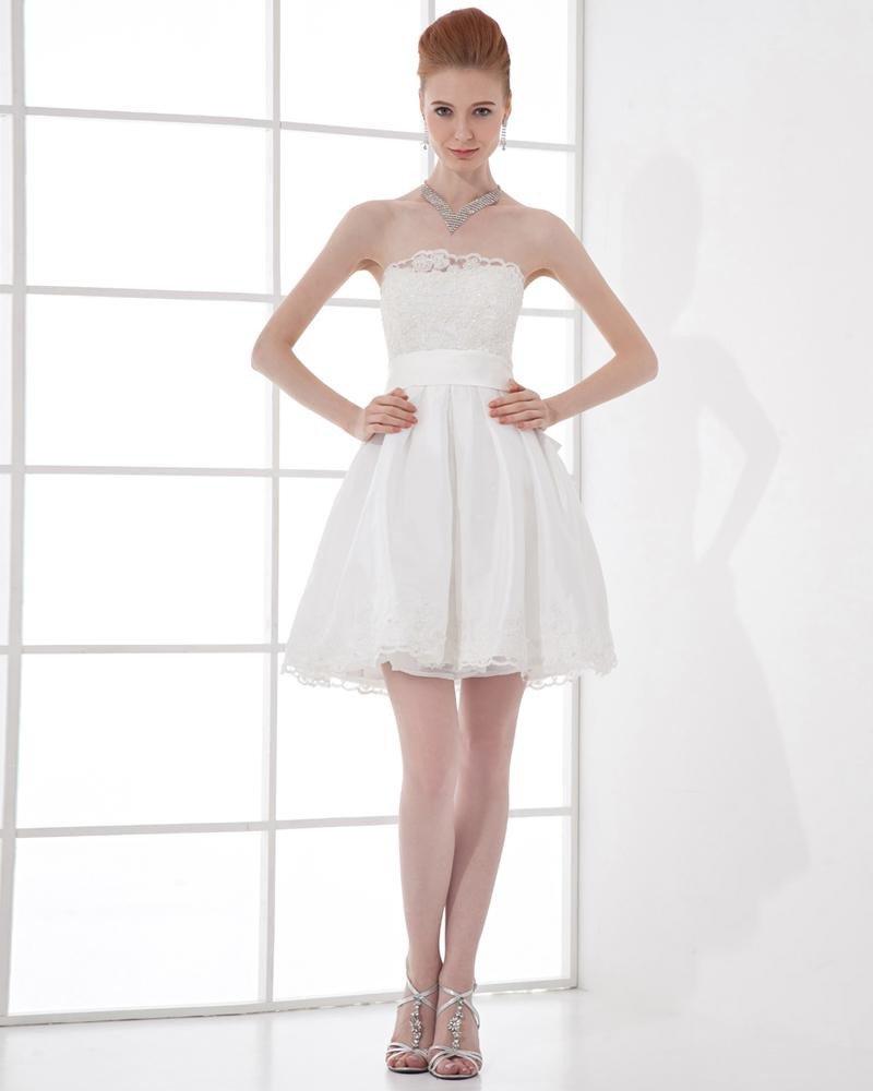 Fashion Satin Pleated Strapless Thigh Length Mini Wedding Dress