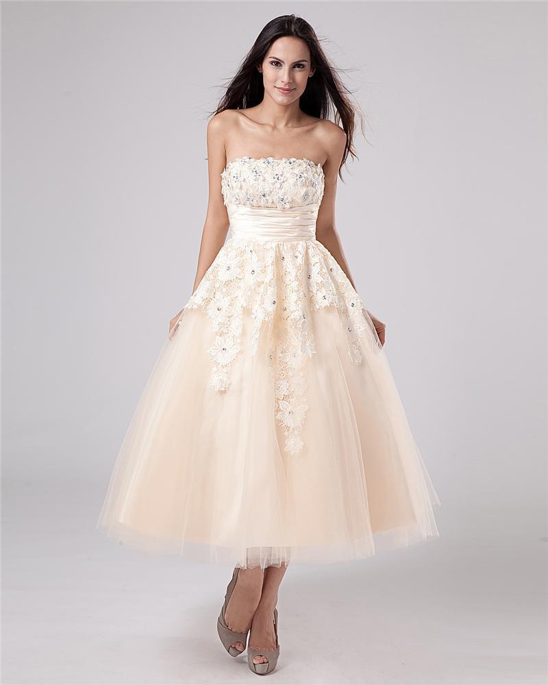 Applique Yarn Tea Length Strapless Mini Bridal Gown Wedding Dress