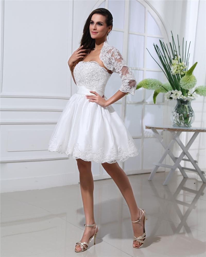 Thigh Length Strapless Flowers Bowknot Satin Lace Mini Wedding Dress