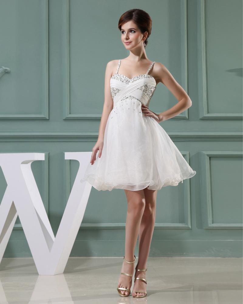 Lace Silk Silk Like Satin Beading Spaghetti Straps Sleeveless Zipper Pleated Mini Wedding Dress
