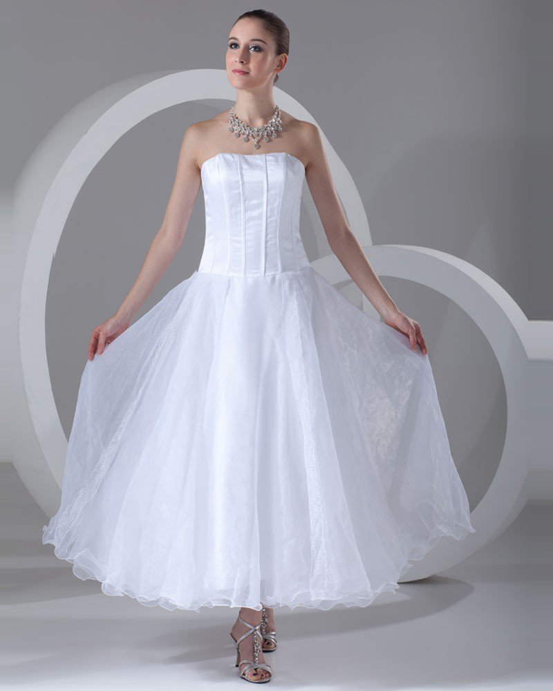 Organza Strapless Ankle Length Pleated Mini Wedding Dress