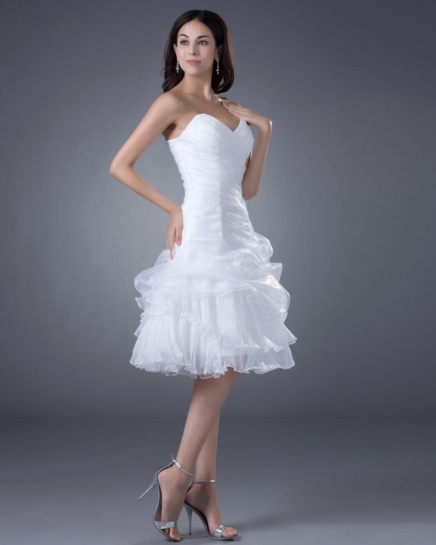 Beautiful A-Line Sweetheart Satin Organza Short Mini Wedding Dress