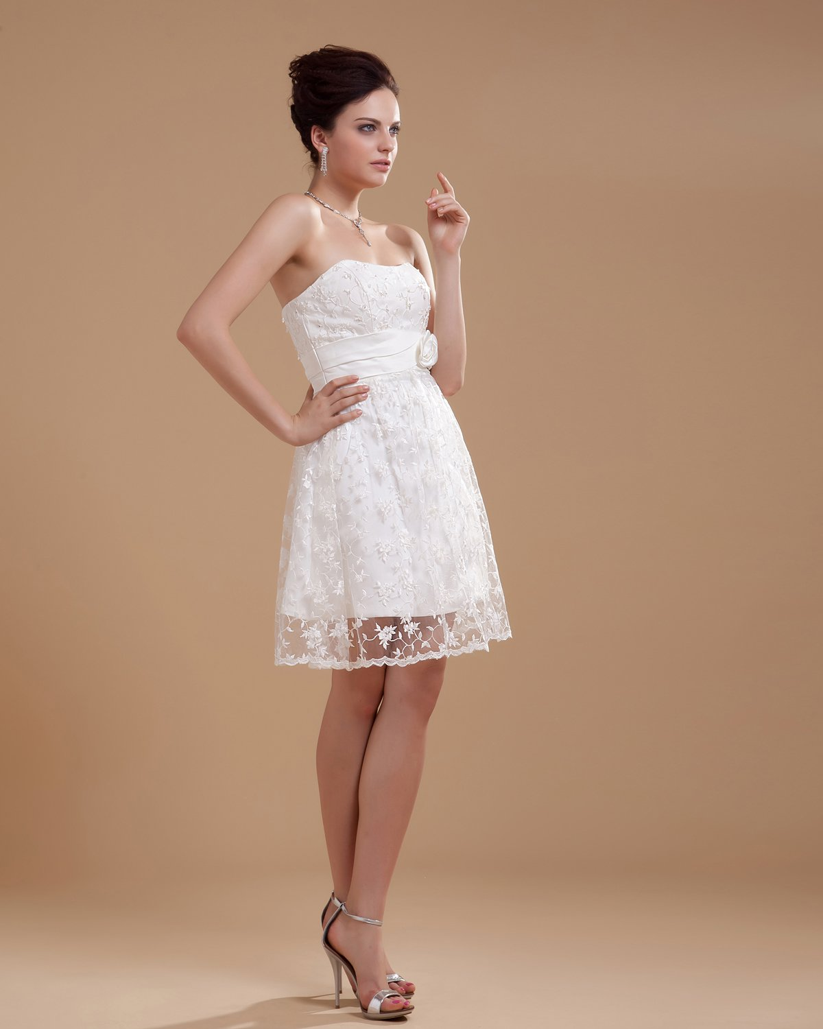 Charming Satin Strapless Beading Embroidery Short Bridal Gown Wedding Dress