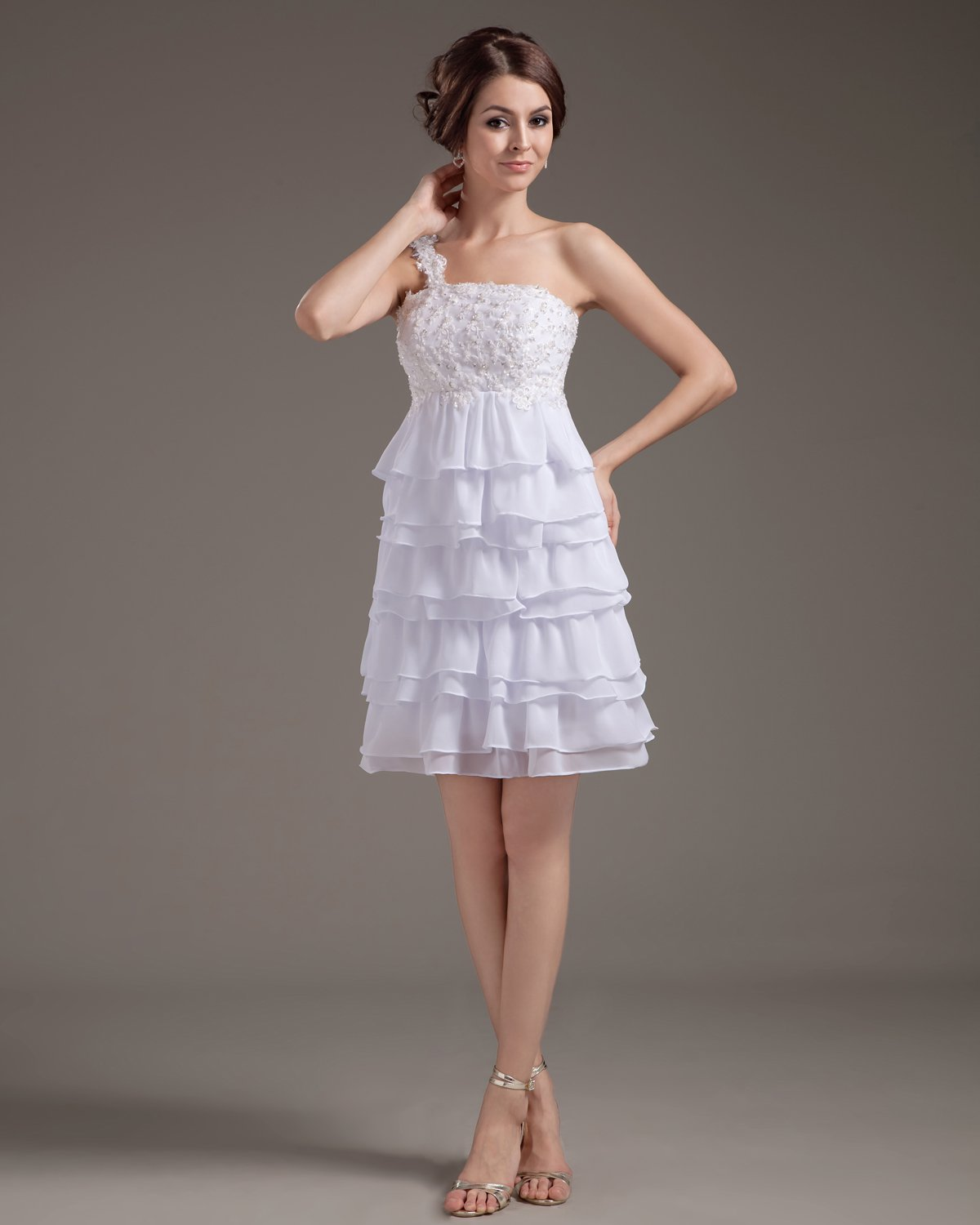 Chiffon Ruffle Layered Short Bridal Gown Wedding Dresses
