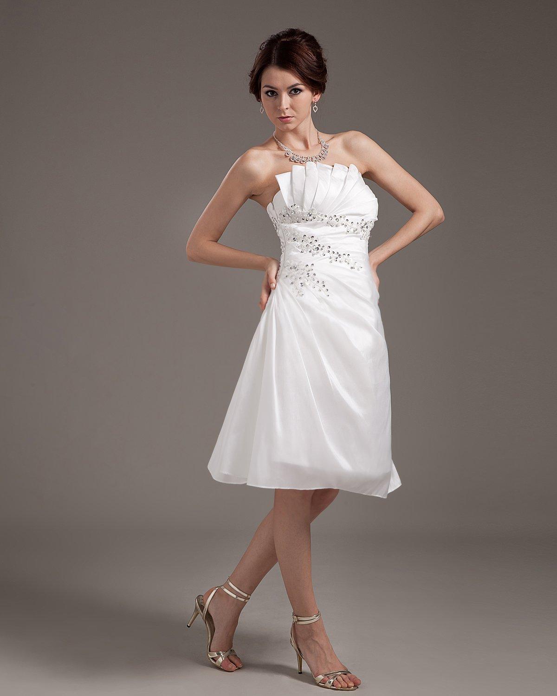 Chiffon Ruffle Sash Strapless Short Bridal Gown Wedding Dresses