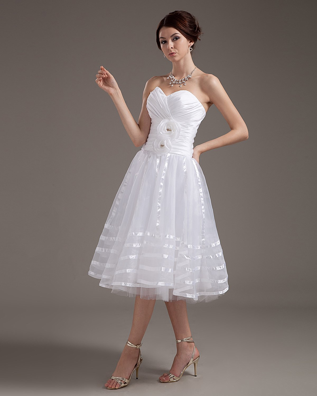 Elegant Strapless Applique Satin Yarn Short Wedding Dresses