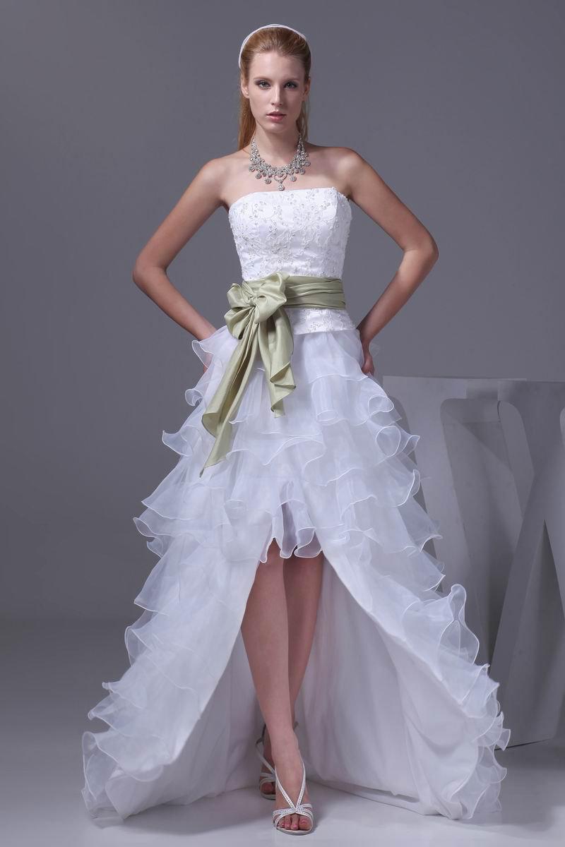 Fashion Lace Satin Organza Silk Bowknot Strapless Asymmetrical Short Mini Wedding Dresses