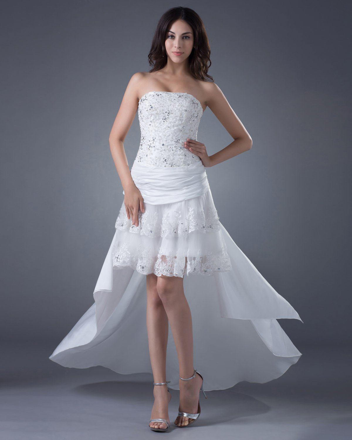 High Low Lace Satin Beading Applique Bridal Gown Wedding Dresses
