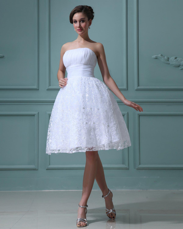 Lace Yarn Ruffles Strapless Short Mini Wedding Dresses
