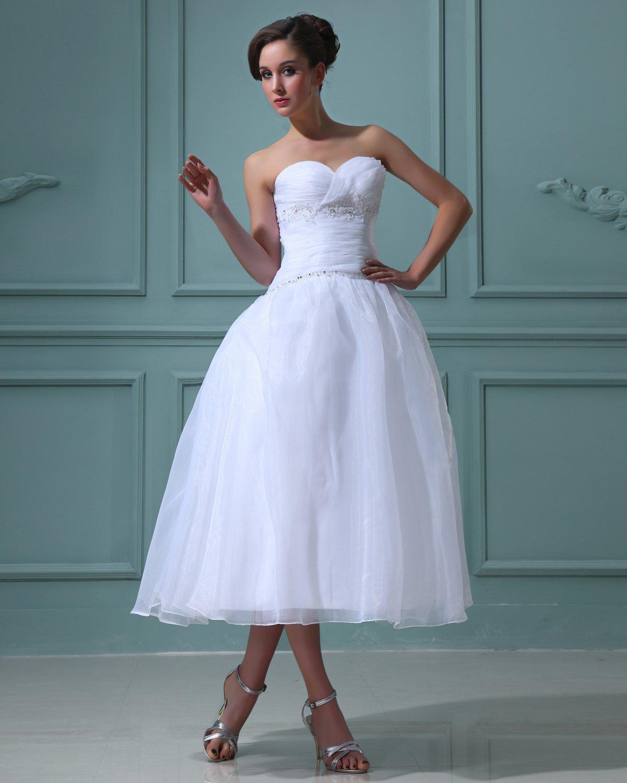 Ruffles Satin Tulle Beading Sleeveless Ruffles Sweetheart Short Mini Wedding Dresses