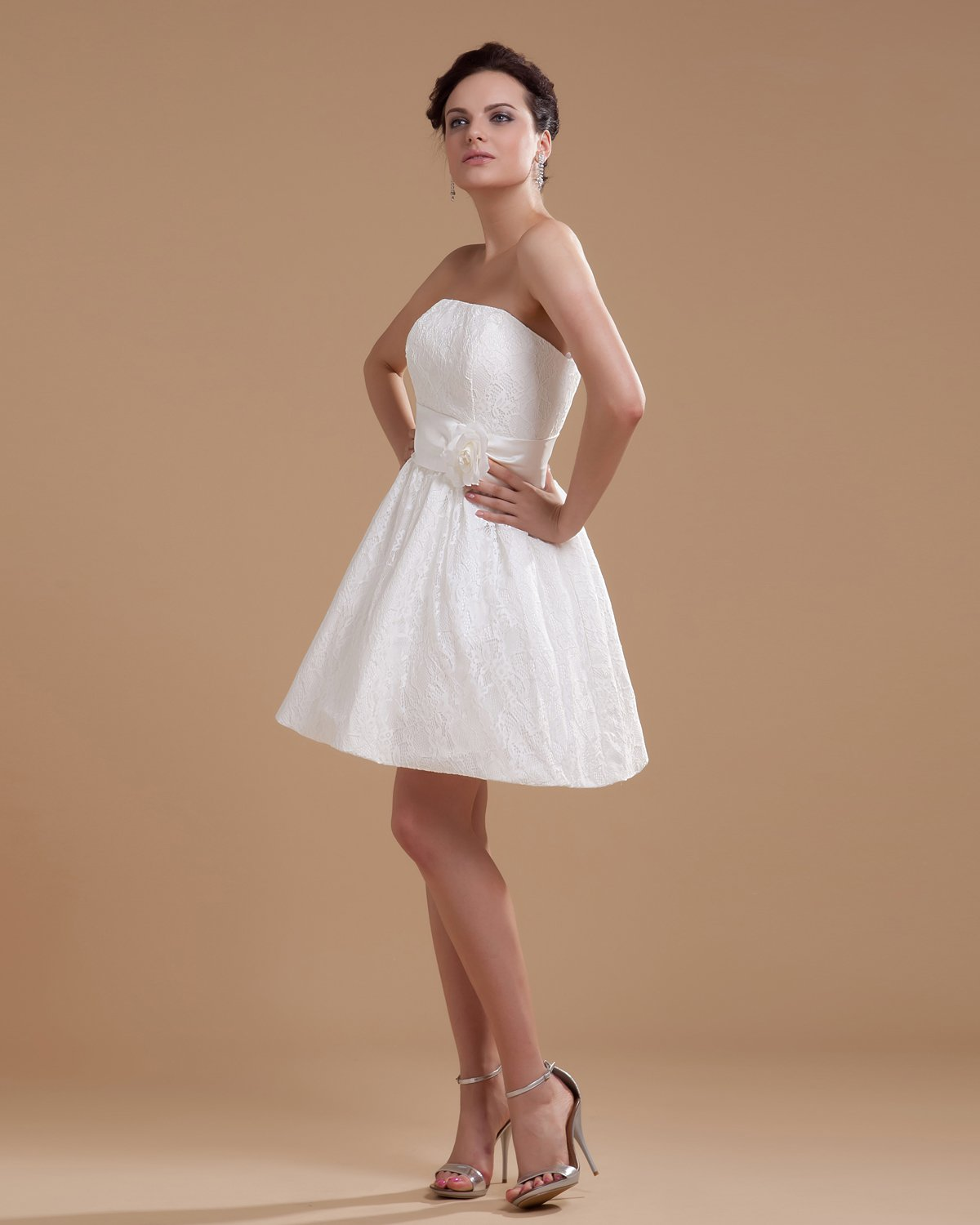 Satin Beading Embroidery Short Bridal Gown Wedding Dress