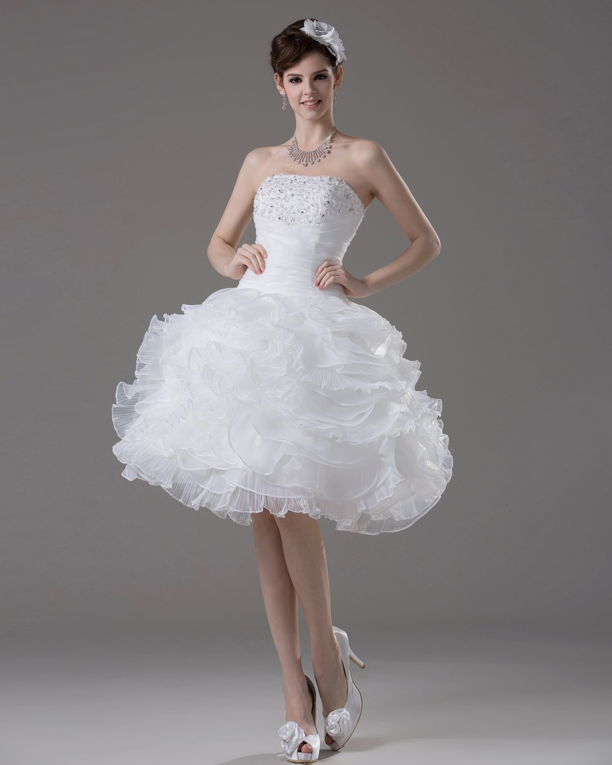 Strapless Knee Length Ruffles Beading Pleated Yarn Mini Wedding Dress