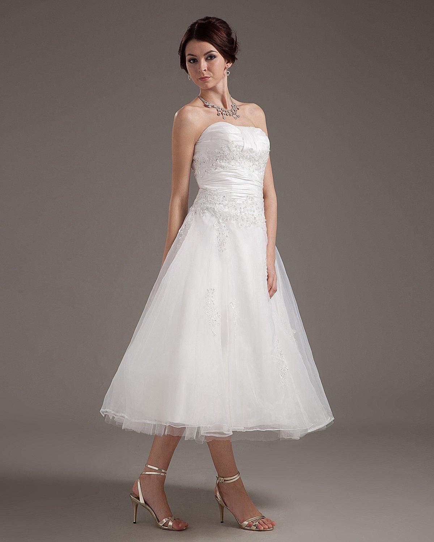 Sweetheart Appliques Satin Beach Tea Length Wedding Dresses