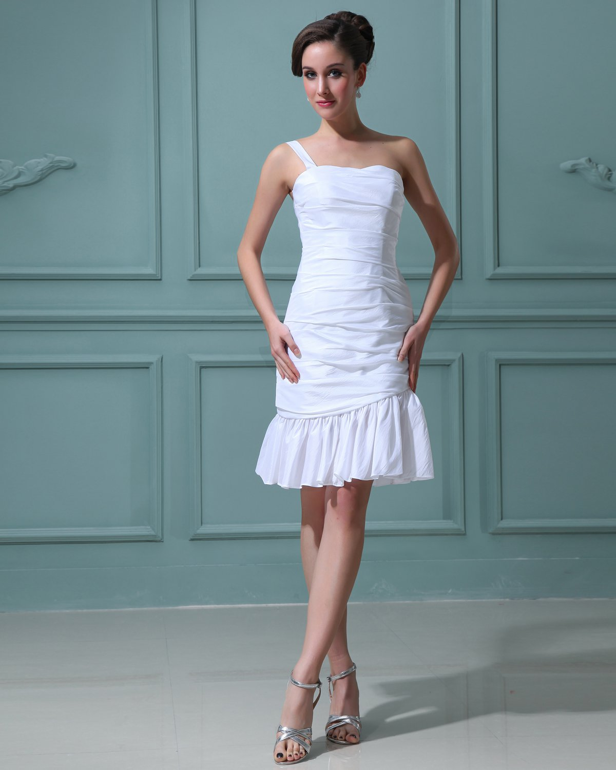 Taffeta Ruffle One Shoulder Sweetheart Short Mini Wedding Dresses