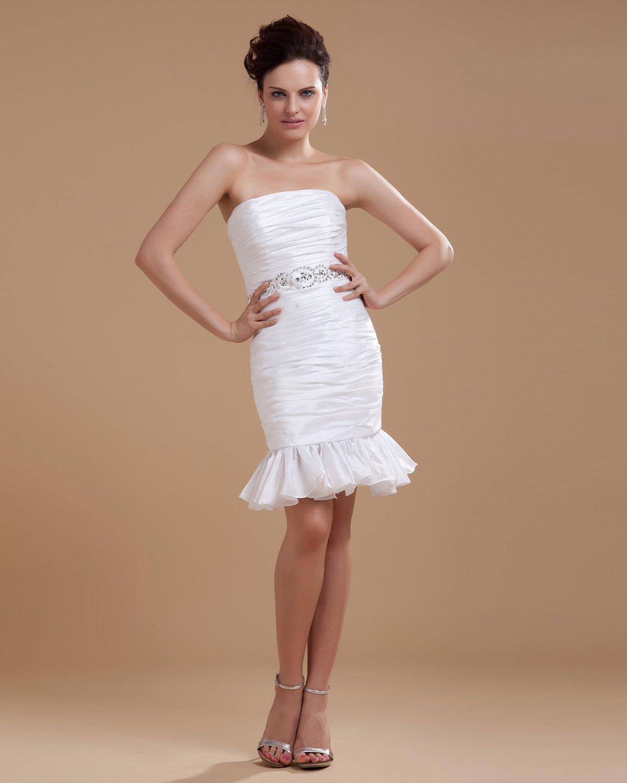 Taffeta Ruffle Short Bridal Gown Wedding Dress/Graduation Dresses