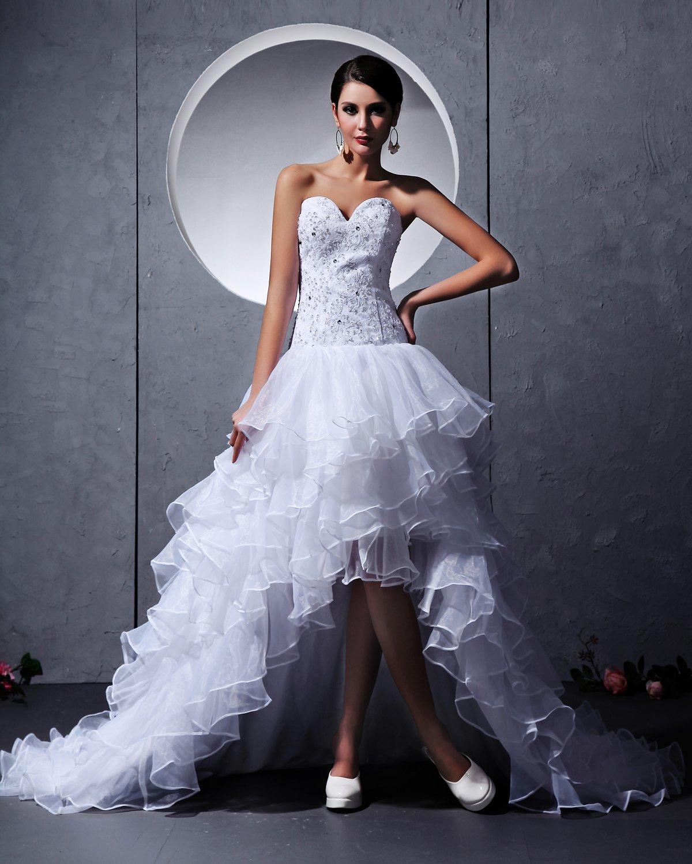 Tulle Beading Handmade Flower Sweetheart Asymmetrical Mini Wedding Dresses