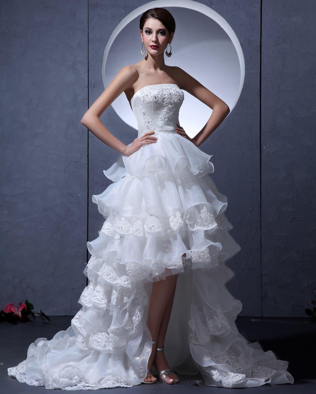 Yarn Asymmetric Strapless Ruffle Short Bridal Gown Wedding Dresses