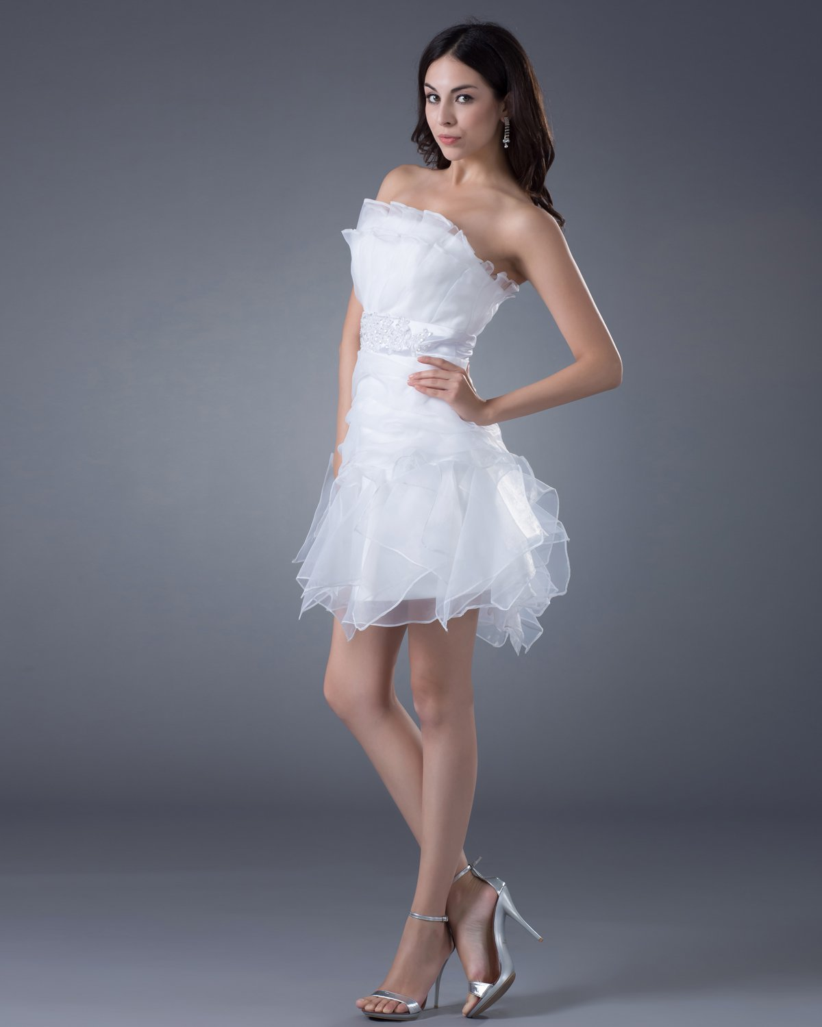 Yarn Sash Strapless Short Bridal Gown Wedding Dresses