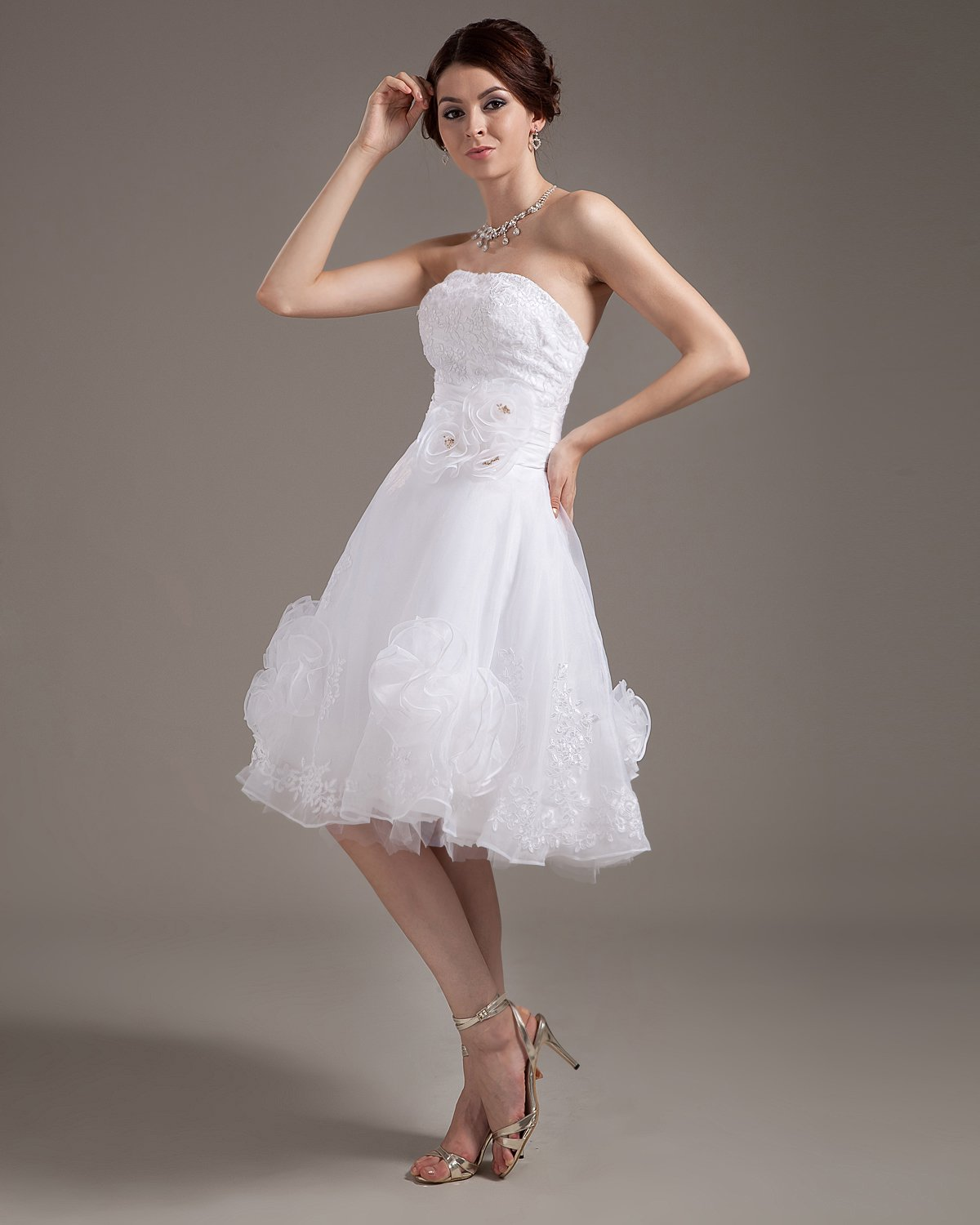 Yarn Strapless Layered Short Bridal Gown Wedding Dresses