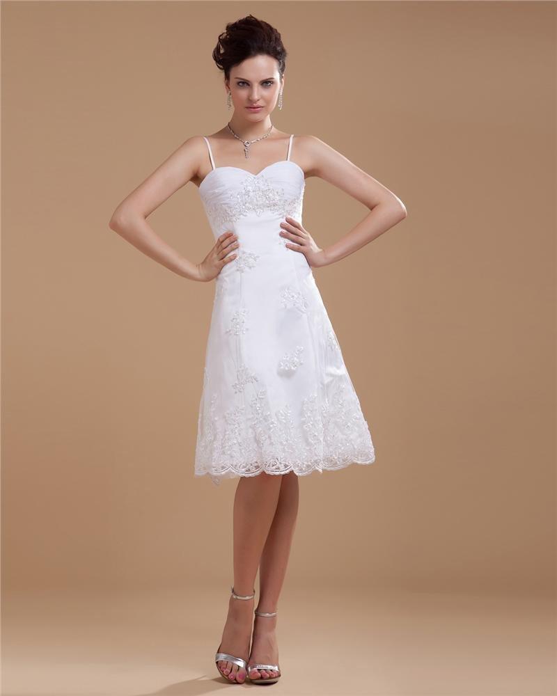 Satin Lace Beading Spaghetti Straps Short Bridal Gown Wedding Dress