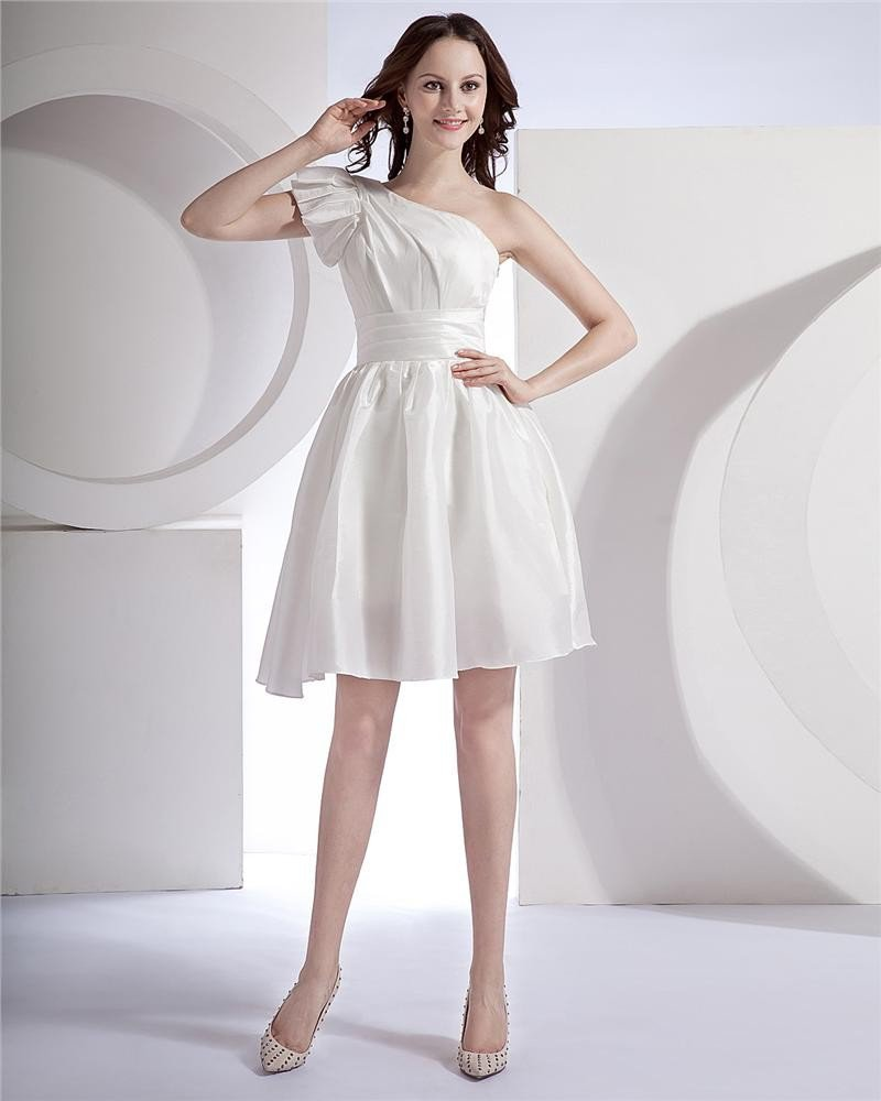 Sash Ruffle One Shoulder Taffeta Short Mini Bridal Gown Wedding Dress/Graduation Dresses