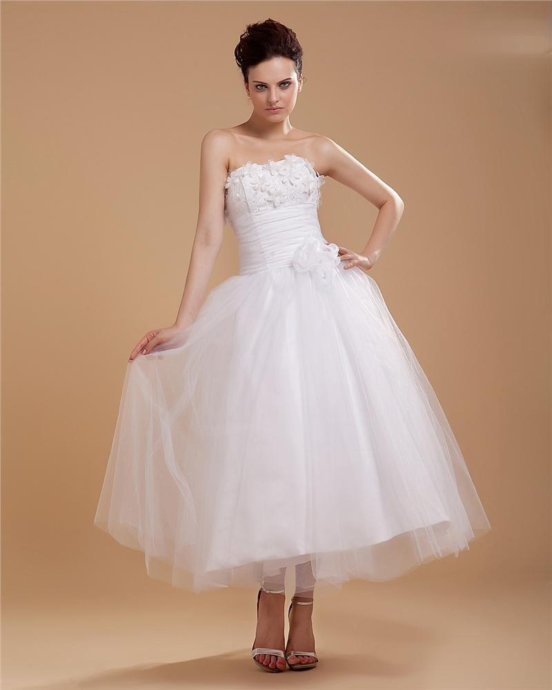 Elegant Mermaid Organza Applique Strapless Ankle Length Wedding Dress