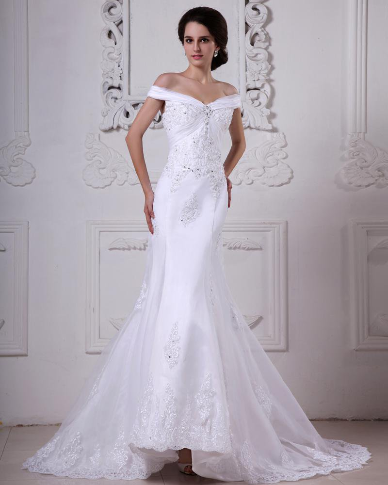 Off-Shoulder Organza Satin Beading Applique Cathedral Train Mermaid Wedding Dresses