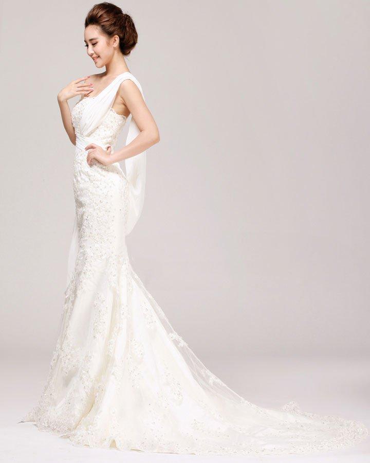 Exquisite Lacework Beading One Shoulder Satin Mermaid Wedding Dress
