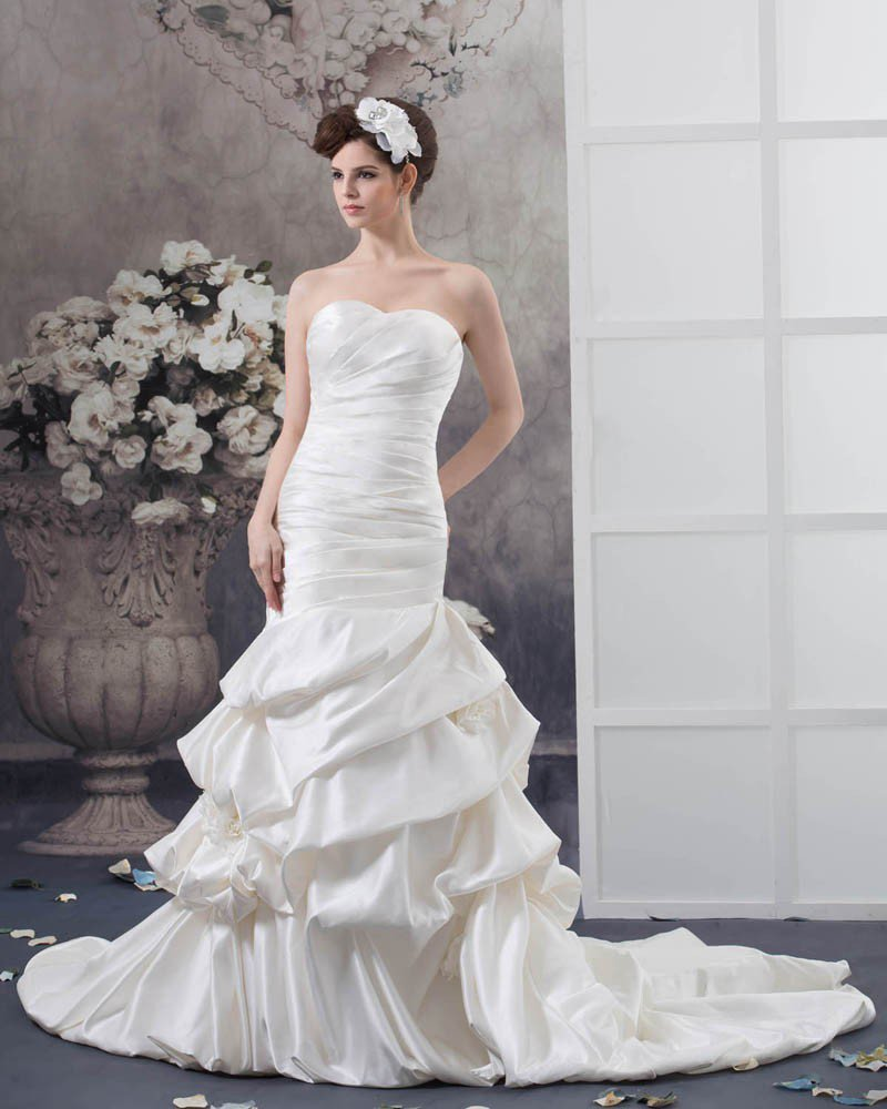 Satin Ruffle Strapless Flower Decor Chapel Mermaid Bridal Gown Wedding Dresses