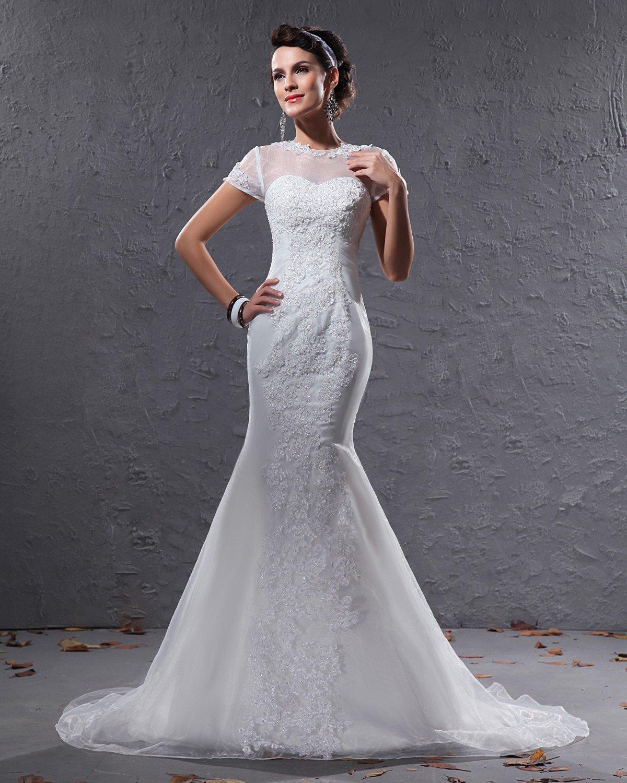 Elegant Organza Applique Beaded Jewel Floor Length Court Train Mermaid Wedding Dress