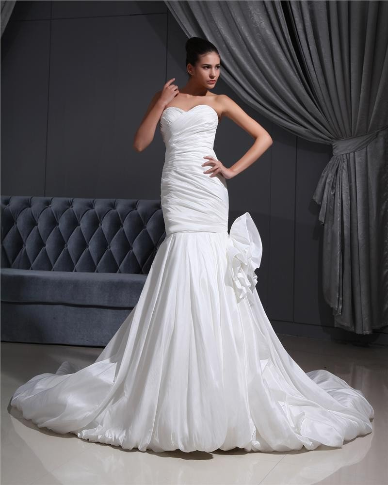 Taffeta Pleated Applique Sweetheart Cathedral Train Mermaid Wedding Dress